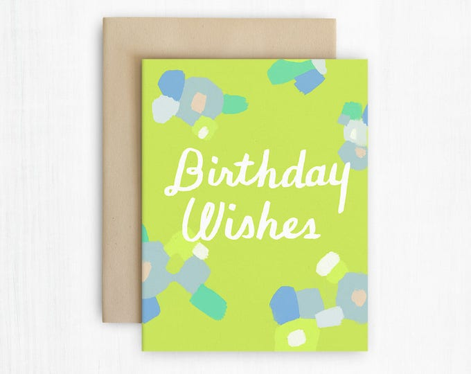 Modern Abstract Florals Birthday Wishes Card