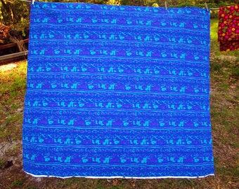 "60s 70s Abstract Fabric Cotton Bretmar Blues Purple Brett Fabrics 58"" x 64"" Long"