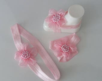 Pink Flower Baby Barefoot Sandals and headband- Baby Sandals - Barefoot Sandals-Handmade Baby Sandals with Cute Yoyo