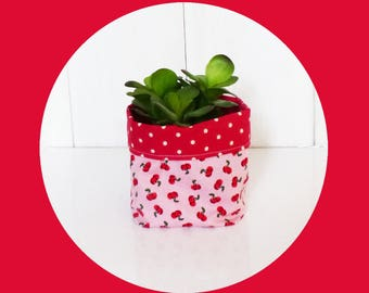 Planter - or small 10 x 10 cm - fabric cherry red and pink / red polka dots