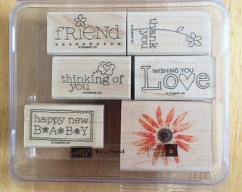 Stampin' Up Flower Baby Love Friend Thinking of You Stamps 6 stamps in a box Craft Supply