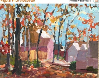 ON SALE Art and collectibles, fall landscape, original acrylic painting, fine art, wall candy, impressionist contemporary art, 11x14 gessobo