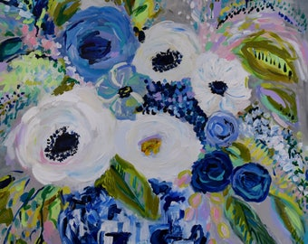 Still Life, Blue and White Ginger Jar Painting, Colorful expressionistic flowers, blue and green, abstract flowers, Original art
