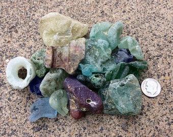 English Seaglass - Group of Beach Found BONFIRE Glass Shards.