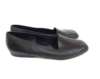 Vintage Black Leather Loafers, Black Leather Flats, Slip On Oxfords,  Enzo Angiolini , Size 8.5