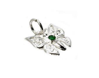 Sterling Silver & Crystal Emerald Filigree Butterfly Charm For Bracelets