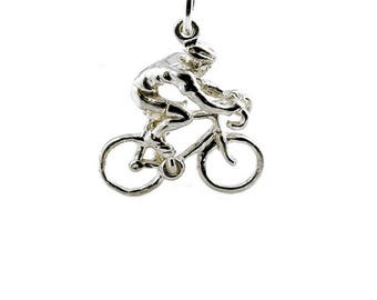 Sterling Silver Wiggins Cyclist Charm For Bracelets