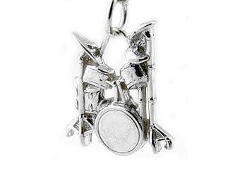 Sterling Silver Drum Kit Charm For Bracelets