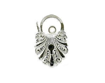 Sterling Silver Fancy Carved Padlock For Bracelets