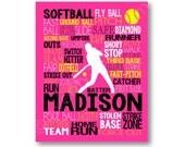 Softball Batter Typography Poster, Custom Softball Player Art, Softball Team Gift, Softball Coach Art, Softball Poster, Softball Canvas