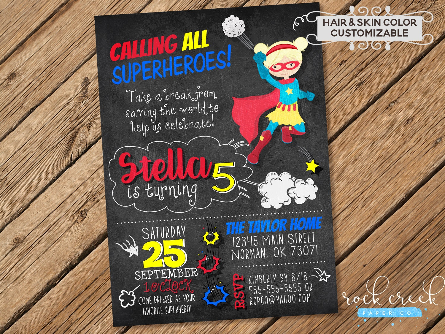 Supergirl Party Invitation, Supergirl Birthday Party, Chalkboard ...