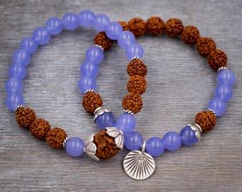 Women jade bracelet Meditation yoga bracelet Rudraksha bracelet Fine silver bracelet Lotus leaf mala bracelet Purple jade wrist mala beads