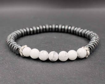925 Sterling silver, howlite and hematite bracelet Mens turquoise bracelet Wrist jewelry Mens stress and anxiety relief, protection bracelet