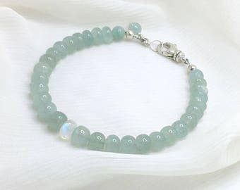 Aquamarine / Rainbow Moonstone / Sterling Silver - Gemstone Bracelet, Genuine Natural Gemstone, Lobster Claw Clasp, 7 Inch