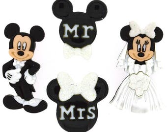 Disney Mickey and Minnie Wedding Buttons