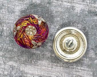 18mm Purple Vitrail Silver Czech Glass Shank Button, 4313, Purple Vitail Czech Glass Button, 1 Piece