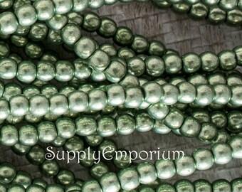 3mm Saturated Metallic Greenery Druk Czech Glass Round Bead, 5163, Saturated Metallic Greenery 3mm Smooth Round Druk, 50 Beads