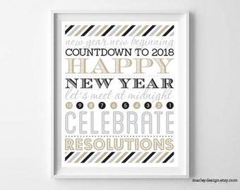 New Years Decor Printable Wall Hanging New Years Party Decor New Years Decorations Table Sign New Years Print New Years Decor Digital Poster