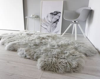 Genuine Quad Natural Sheepskin Rug - Extremely soft wool - Dyed Grey | Silver | Ash | Tan Mix  - QN 19
