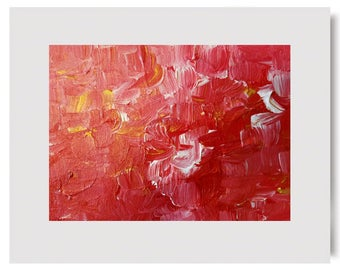 HARD CANDY Original Modern Abstract Contemporary Impasto Art Painting Canvas Acrylic Matted to Frame usa Free Shipping Red White Gold USA