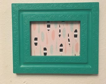 Picture Frame Upcycled Handpainted Green , 5x7 Photo Frame , Boho Decor , Housewarming Gift , Wall Art