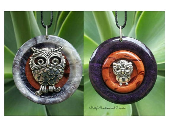 Owl Double Sided Pendant made from She Oak and Dark Purple and White Resin,reclaimed wood, free shipping