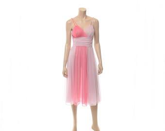 Vintage 50s Vanity Fair Two Pink Nightgown 1950s Tricot Nighty Sleepwear Bubblegum Pink Chiffon Gown Wedding Lingerie / size 32