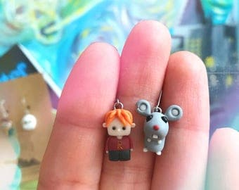 """Ronald Weasley and Scabbers handmade earrings - inspired """"Harry Potter"""""""