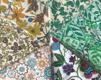 "10"" x 13"" pieces - Green & Blue Pack of 6 Liberty London Tana Lawn"