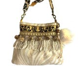 Bucket bag cream gold, handmade purse bohemian, OOAK gift for her, fringed bag with pompons, boho style bucket cream yellow, catena bags