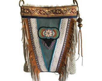 Indian style bag fringed, handmade purse Navajo style, fringed bag brown green, Ibiza crossbody OOAK, woman gift boho, unique fabric bags