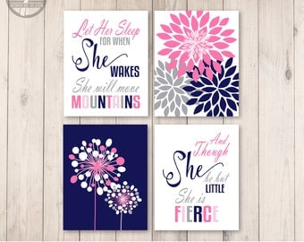 Girls Navy Pink Grey Nursery Bedroom Wall Art Prints, Let Her Sleep and She is Little Shakespeare Quotes, Print Set of (4) Decor Unframed