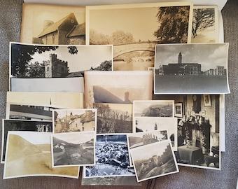 Vintage Photo Pack of UK 20 photos (P), UK United Kingdom scenery, ephemera junk journals scrapbooks smashbook, sepia, black and white