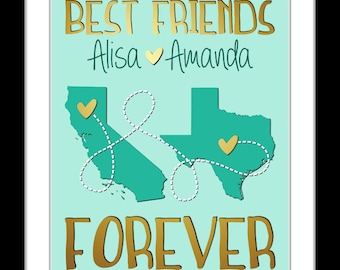 Popular Best Friend Gift Friends Or Sister Leaving Home Going Away Gifts College Personalized Best Friend Present Friendship Map Art Print