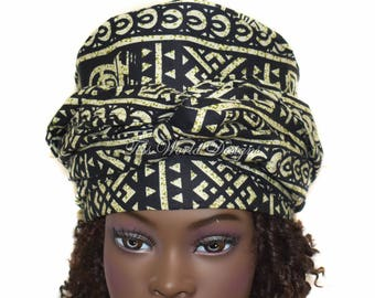 Ready made African head wear/ Handmade African hat/ Pullover Headwrap hat/ Gele Style hat/ South African hats/ African Fabric/  HT244