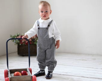 Baby boy wool romper Wool overall Baby boy long romper Baby boy clothes 1st birthday suit Baby winter romper Grey checkered romper