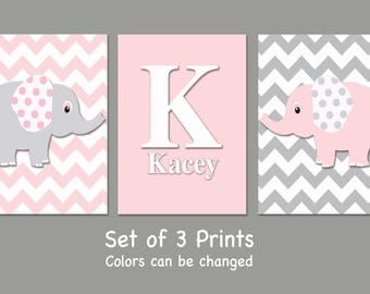 Personalized Elephant Nursery Wall Art - Set of 3 Prints- Pink and Gray Elephants - Girl Nursery Prints - Baby Nursery-Colors can be changed