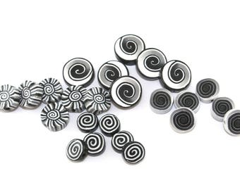millefiori beads, mix set of 24 handmade spiral beads for jewelry making, coin beads in black, gray and white, round polymer clay beads