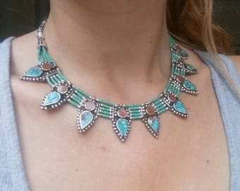 Tibethan silver lovely bohemian etno necklace encrusted with turquoise and beads