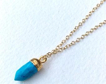 Turquoise Point Pendant Necklace, Everyday Layering Necklace, Turquoise Jewelry, Small Turquoise Charm, Boho Jewelry