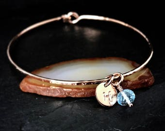 Genuine Sky Blue Topaz Charm Bracelet / 14k Rose Gold Bangle / December Birthstone/ Personalized Charm Bangle / Scorpio Blue Topaz Bracelet