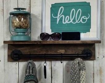 ON SALE Rustic shelf, industrial pipe shelf, Rustic pipe furniture,wood shelf, wall shelf, industrial decor, home decor