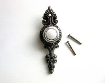 Antique Doorbell Cast Iron Complete Unit Including Original Mounting Screws Mid Century