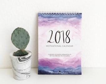 2018 Motivational Calendar - Positive Affirmations Calendar - Hand Lettered Calendar - Watercolour Calendar - A5 Double Page - Wall Calendar