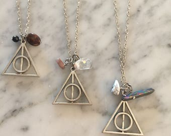 Deathly Hallows Harry Potter Necklace with Natural Stones
