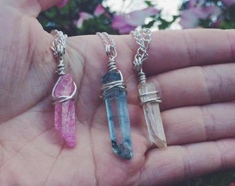 Crystal Necklaces, Quartz Point Necklace, Crystal Point Necklace