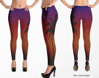 Tropical Leggings, Exercise Clothing, Gym Clothes, Palm Tree Yoga Pants, Caribbean Dance Capris, Stretch Fabric Pants, Beachwear