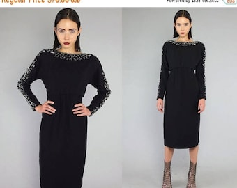 40OFF Vtg 80s Black Silver Beaded Art Deco Dress S M