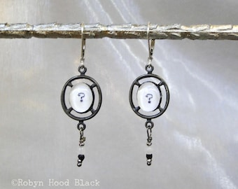 Punctuation Mark  Typewriter Question Mark Earrings with Antique Beads