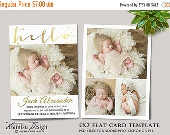 ON SALE Birth Announcement Template, Photography Photoshop 5x7in Card Template, sku 16-3